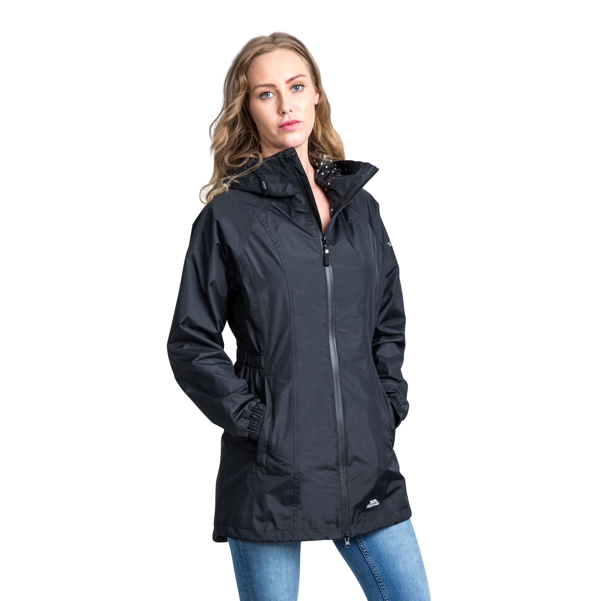 Trespass-Womens-Parka-Jacket-Hooded-Waterproof-Longline-Coat-Polka-Dot thumbnail 14