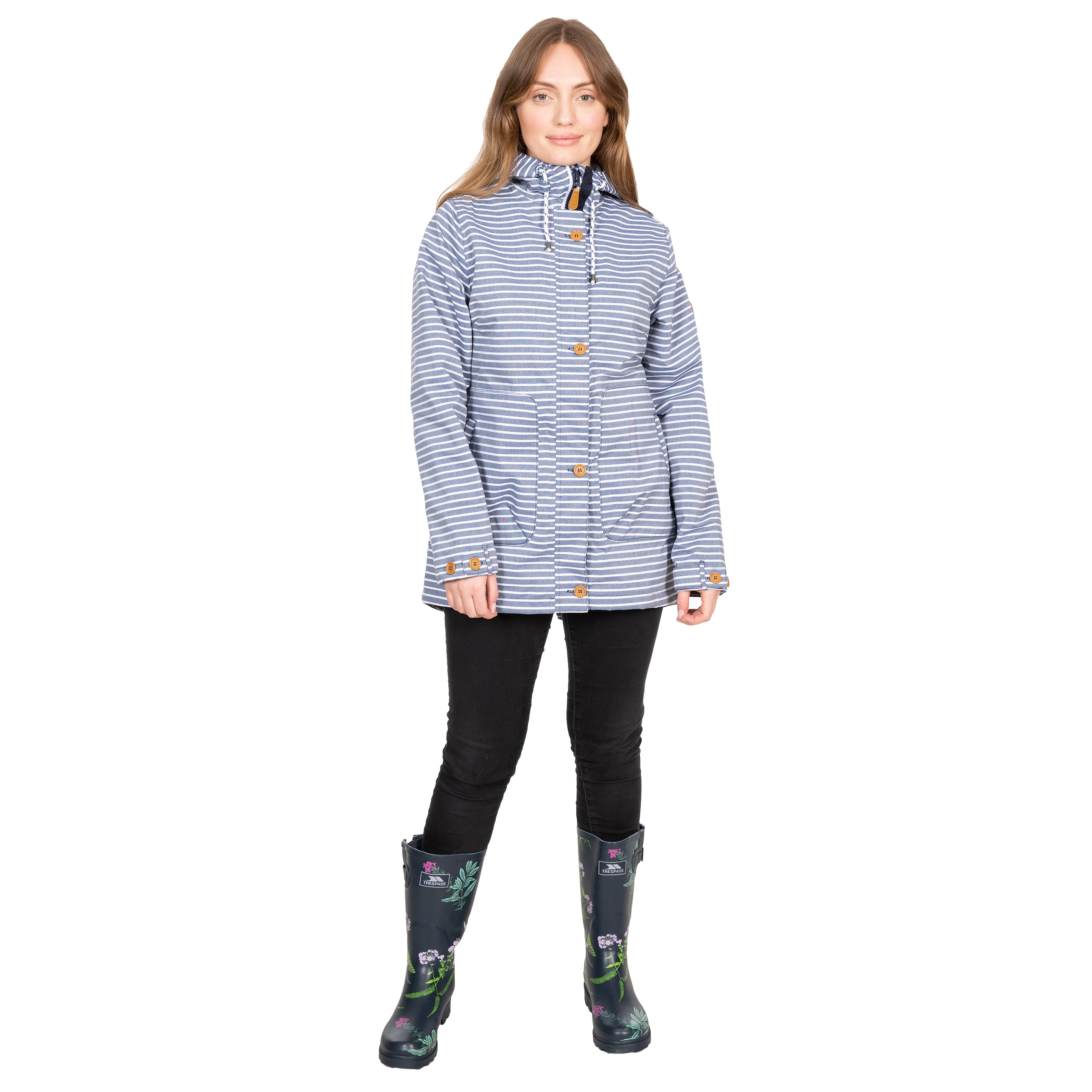Trespass-Womens-Waterproof-Jacket-Longline-Stripe-Raincoat-with-Hood-Offshore thumbnail 3