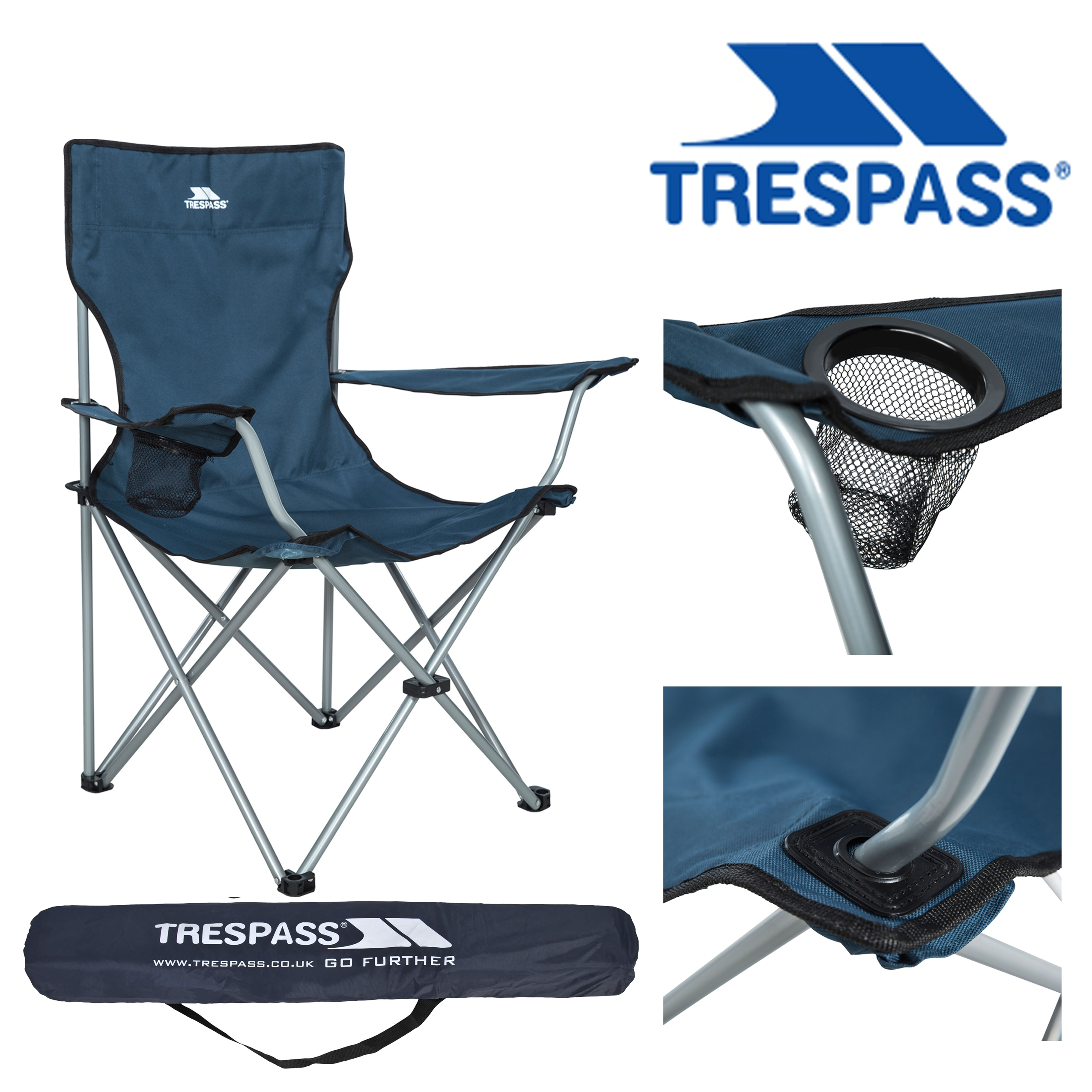 Blue Trespass Branson Camping Chair with Cup Holder /& Carrier Bag Tropical Stripe