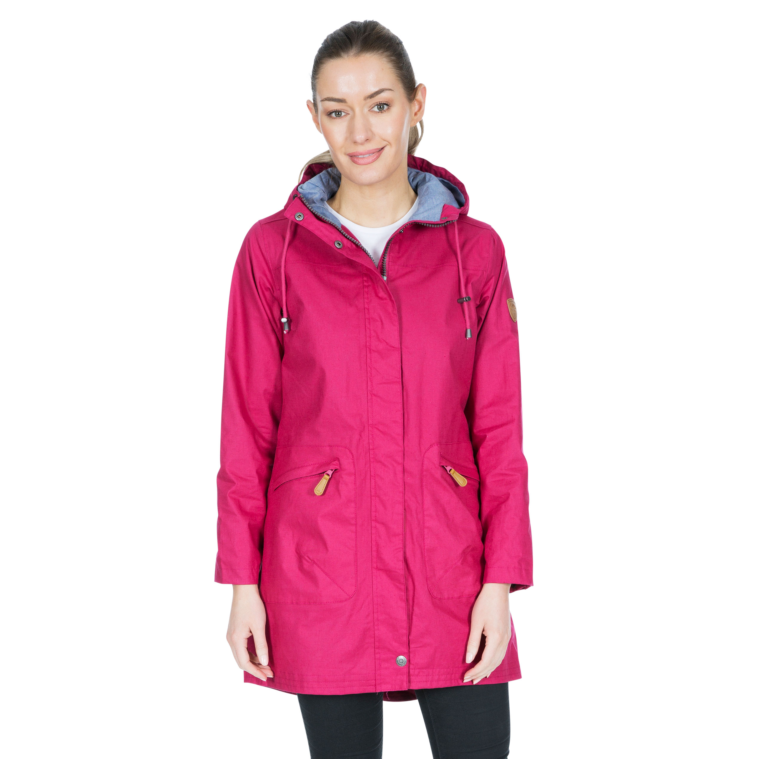 Trespass-Womens-Waterproof-Jacket-Longline-Pink-Navy-Hooded-Raincoat thumbnail 14